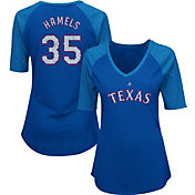 Majestic Women's Texas Rangers Cole Hamels #35 Royal Raglan V-Neck Half-Length Sleeve Shirt