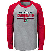 Majestic Youth St. Louis Cardinals Grey/Red Raglan Long Sleeve Shirt