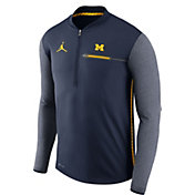 Jordan Men's Michigan Wolverines Blue Coach Half-Zip Football Sideline Jacket