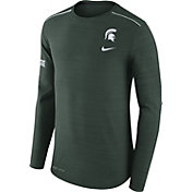 Nike Men's Michigan State Spartans Heathered Green Player Football Sideline Long Sleeve Shirt