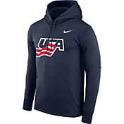 Nike Men's USA Hockey World Junior Classic Wordmark Navy Pullover Hoodie