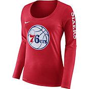 Nike Women's Philadelphia 76ers Dri-FIT Red Logo Long Sleeve Shirt