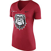Nike Women's Georgia Bulldogs Red Stripe Bar V-Neck T-Shirt