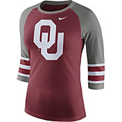 Nike Women's Oklahoma Sooners Crimson/Grey Stripe Sleeve Three-Quarter Raglan Shirt
