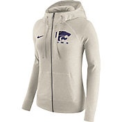Nike Women's Kansas State Wildcats Heathered Oatmeal Gym Vintage Full-Zip Hoodie