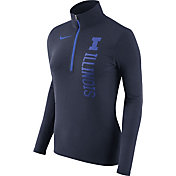 Nike Women's Illinois Fighting Illini Heathered Blue Element Half-Zip Shirt