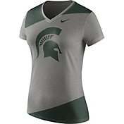 Nike Women's Michigan State Spartans Grey/Green Champ Drive Football Dri-Blend V-Neck T-Shirt