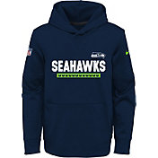 Nike Youth Seattle Seahawks Therma-FIT Navy Performance Pullover Hoodie
