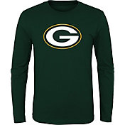 NFL Team Apparel Youth Green Bay Packers Logo Green Long Sleeve Shirt