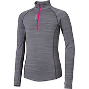 Reebok Girls' Cold Weather Compression Spacedye 1/4 Zip Long Sleeve Shirt