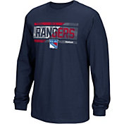 Reebok Men's New York Rangers Frozen Stripe Navy Long Sleeve T-Shirt