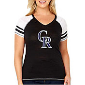 Soft As A Grape Women's Colorado Rockies Tri-Blend V-Neck T-Shirt