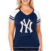 Soft As A Grape Women's New York Yankees Tri-Blend V-Neck T-Shirt