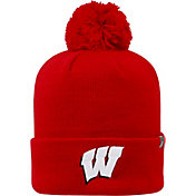 Top of the World Men's Wisconsin Badgers Red Pom Knit Beanie