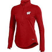 Under Armour Women's Wisconsin Badgers Red Charged Cotton Half-Zip Shirt