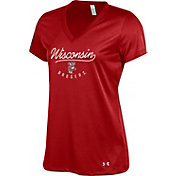 Under Armour Women's Wisconsin Badgers Red Tech V-Neck Performance T-Shirt