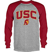 USC Authentic Apparel Men's USC Trojans Grey/Cardinal Byron Long Sleeve Shirt