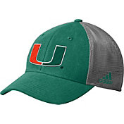 adidas Men's Miami Hurricanes Green Mesh Back Structured Flex Hat
