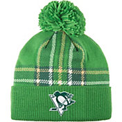 adidas Men's 2018 St. Patrick's Day Pittsburgh Penguins Green Pom Knit Beanie
