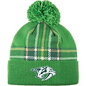 adidas Men's 2018 St. Patrick's Day Nashville Predators Green Pom Knit Beanie