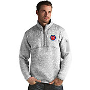 Antigua Men's Detroit Pistons Fortune Grey Half-Zip Pullover