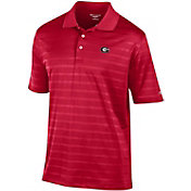 Champion Men's Georgia Bulldogs Red Textured Stripe Performance Polo