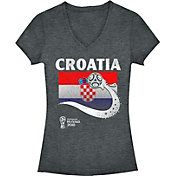 Fifth Sun Women's 2018 FIFA World Cup Croatia Flag Ball Grey V-Neck T-Shirt