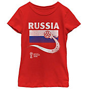 Fifth Sun Youth Girls' 2018 FIFA World Cup Russia Flag Ball Red T-Shirt