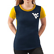 G-III For Her Women's West Virginia Mountaineers Blue Yardline V-Neck T-Shirt