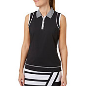 Lady Hagen Women's Twilight Collection Faux Racerback Sleeveless Golf Polo - Plus Size