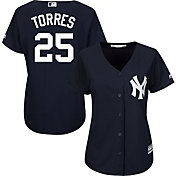 Majestic Women's Replica New York Yankees Gleyber Torres #25 Cool Base Alternate Navy Jersey