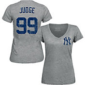 Majestic Threads Women's New York Yankees Aaron Judge Grey V-Neck T-Shirt