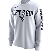 Nike Men's West Virginia Mountaineers 'Let's Go!' Bench Legend Long Sleeve White T-Shirt