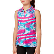 Slazenger Girls' Fashion Stripe Sleeveless Golf Polo